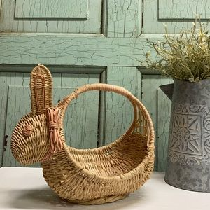 Vintage 80's Wicker Bunny Basket